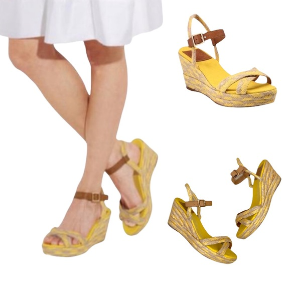 🍁Fall Sale🍁  TORY BURCH CAMELIA YELLOW ESPADRILLE WEDGE SANDALS